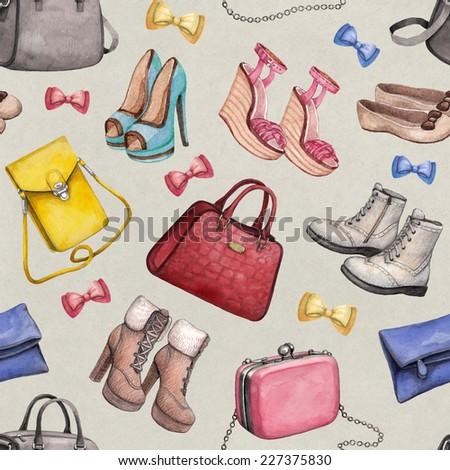 Watercolor handbag and shoes illustrations. Seamless pattern  - stock photo