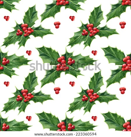 Watercolor handmade colorful floral seamless pattern set with Christmas holly  - stock photo