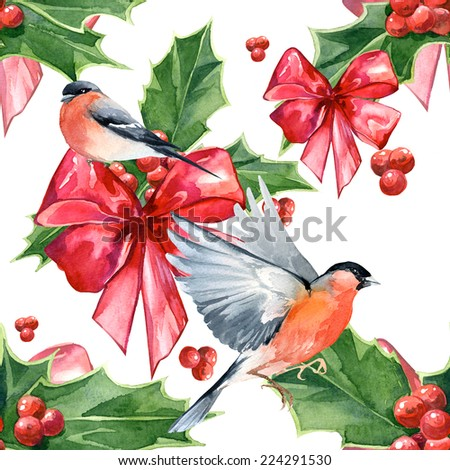 Watercolor handmade colorful floral seamless pattern set with Christmas holly and bird - stock photo