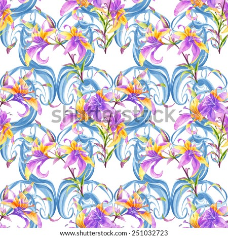 Watercolor handmade colorful lilly flowers seamless pattern set with curls