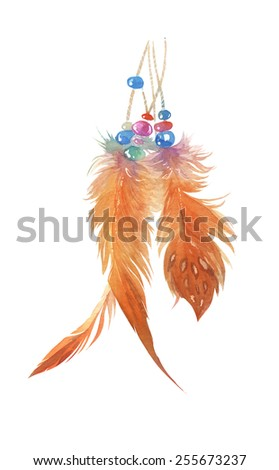 Watercolor handmade decorative feathers set