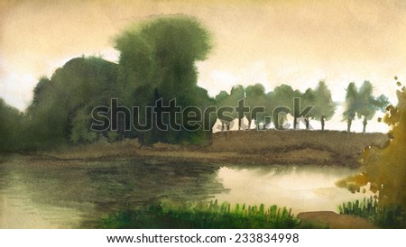 """Watercolor handmade landscape on toned cardboard, made in freehand technique of """"drawing on wet"""". Dark silhouettes of trees in evening light on the shore of a quiet lake - stock photo"""