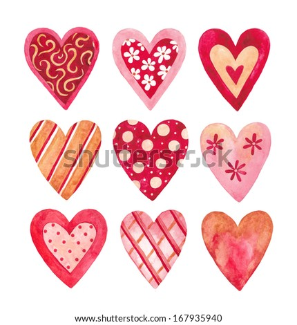 Watercolor hearts collection for Valentine's day  - stock photo