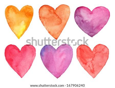 Watercolor hearts, Valentine's day - stock photo
