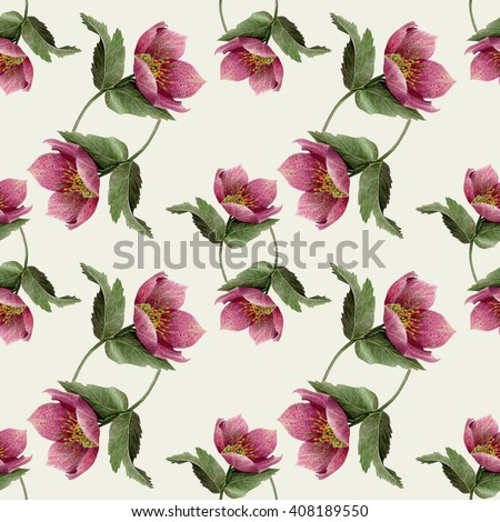 Watercolor Hellebore flower seamless pattern on white background. Pastel Green, Pink, Purple & White backdrop. Cloth & rug design. Rustic style. Hand drawn botanical illustration.