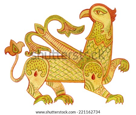 Watercolor Heraldic Griffin - stock photo