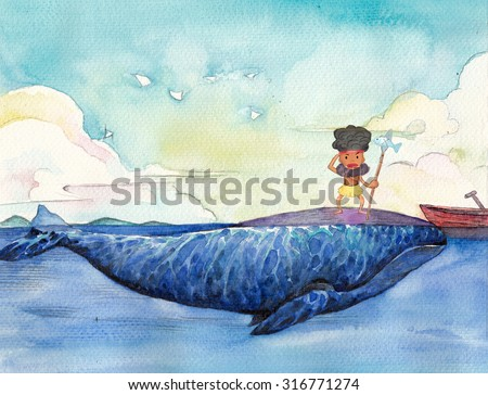 Watercolor High Definition Illustration: The Little Savage's Life. Fantastic Cartoon Style Scene Wallpaper Background Design with Story.  - stock photo