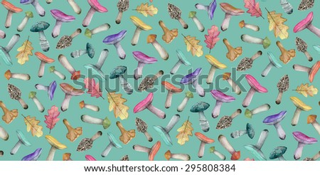 Watercolor high quality mushrooms colorful pattern on a green background