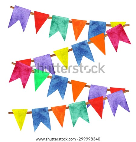 Watercolor holiday colorful party flags on rope, pennants, garlands closeup isolated on white background. Hand painting on paper  - stock photo