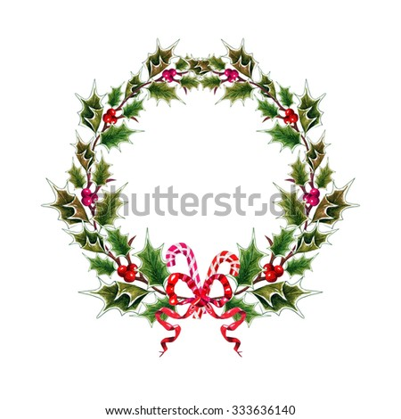Watercolor Holly twig, Bow & Candy cane Wreath, isolated on white background. Christmas Decoration. Vintage Winter floral frame. Postcard, poster, textile & T-shirt design. Hand drawn illustration. - stock photo