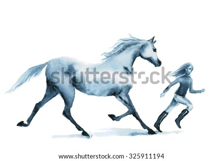 Watercolor horse and girl running on the field. Beautiful hand drawing illustration on white. - stock photo