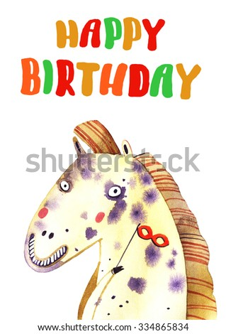 watercolor horse, birthday illustration isolated on white background - stock photo