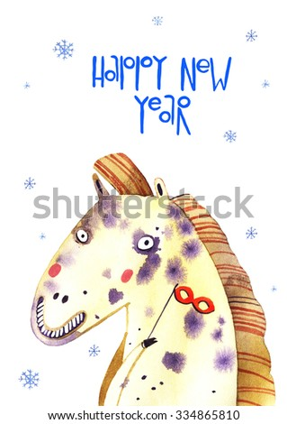 watercolor horse, snowing, new year illustration isolated on white background - stock photo
