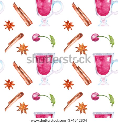 Watercolor hot wine punch seamless pattern with cinnamon and anise tree. Hand drawn illustration - stock photo