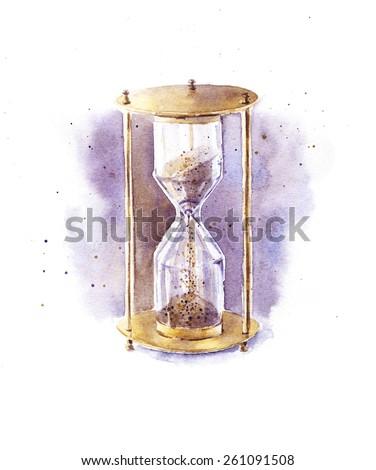 Watercolor hourglass - stock photo