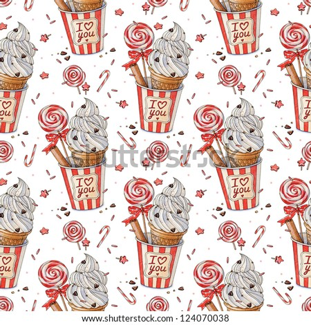 Watercolor ice cream with lollipop. Happy Valentine's Day pattern. - stock photo
