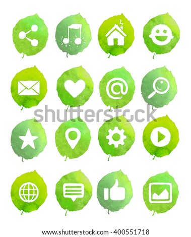 Watercolor icons on green leaves. Social media icons set - stock photo