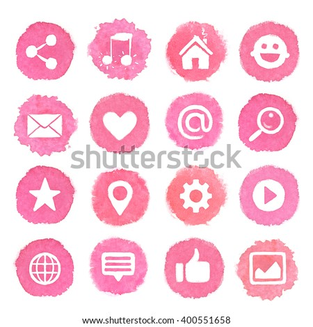 Watercolor icons on pink blots. Social media icons set