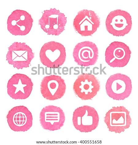 Watercolor icons on pink blots. Social media icons set - stock photo