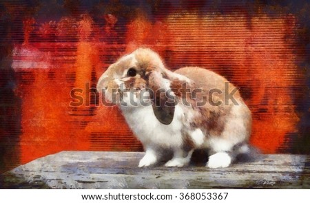watercolor illustration about cute bunny; card for Easter; red background