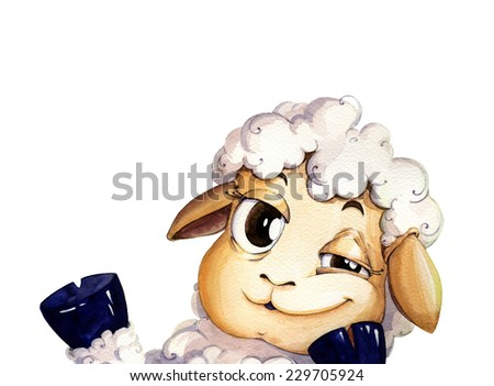 watercolor illustration about winking lamb - stock photo