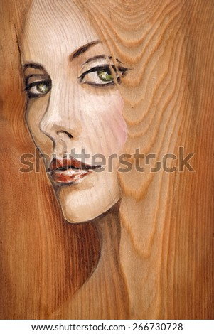 Watercolor illustration-beautiful woman with green eyes painted on a wood. - stock photo
