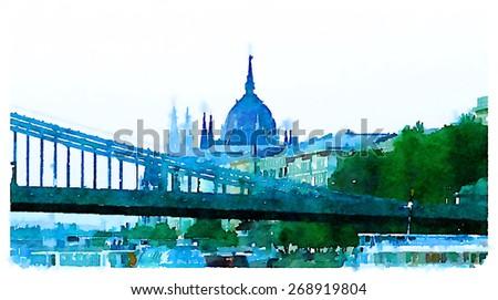 watercolor illustration budapest Liberty Bridge view   - stock photo