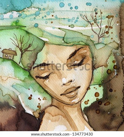 watercolor illustration, depicting a portrait of a beautiful young woman - stock photo