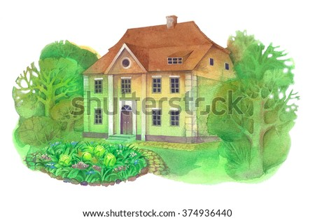 watercolor illustration depicting a small two-story English cottage among the trees, in front of which is a flower bed with flowers