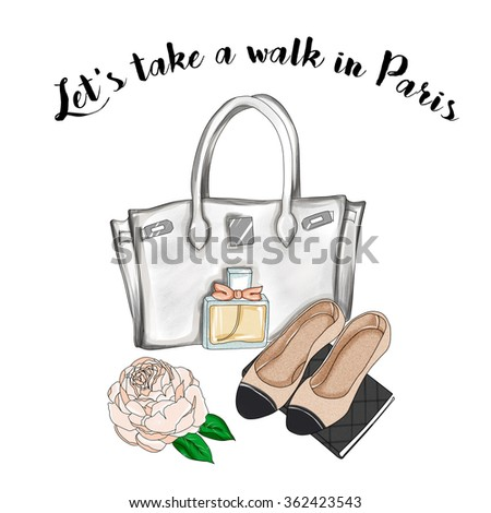 watercolor illustration - Fashion Illustration - Hand drawn raster background  - designer bag and flat shoes
