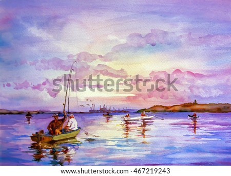 Watercolor illustration. Fishing the Sea in summer.Boat with fishermen on a background of the calm sea and bright sky on a sunny day