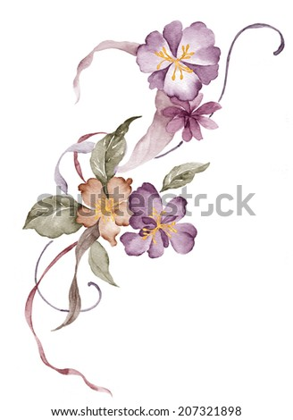 watercolor illustration flower in simple white background - stock photo
