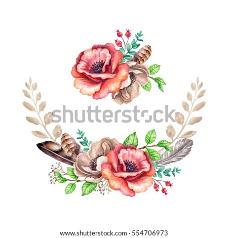 Watercolor Illustration Flowers And Feathers Rustic Floral Clip Art Border Wedding Bouquet