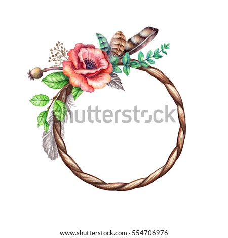 Watercolor Illustration Flowers And Feathers Rustic Floral Clip Art Round Frame Blank
