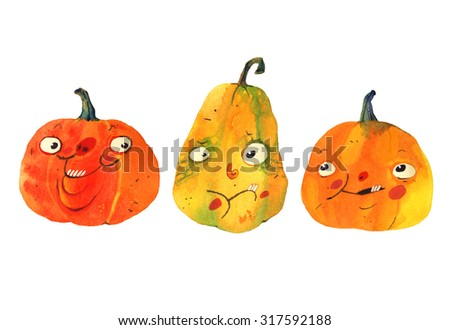 watercolor illustration, halloween cartoon pumpkin isolated on white background - stock photo