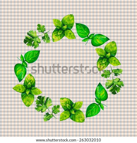 Watercolor illustration herbs wreath on vichy pattern background  - stock photo