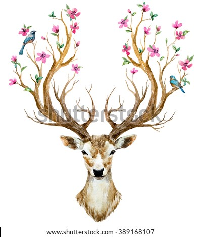 watercolor illustration isolated deer, big antlers, flowers and birds on the horns, branches cherry flowering plant