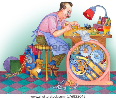 Watercolor illustration isolated on white background. Watchmaker at the table with tools repairing a wrist watch at his workshop - stock photo