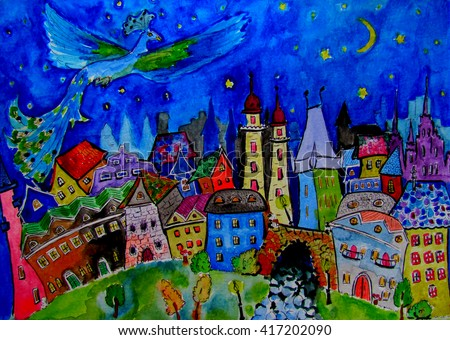 "watercolor illustration ""Magic town"" hand painting in bright colors about dreams, fantasy and fairy tale"