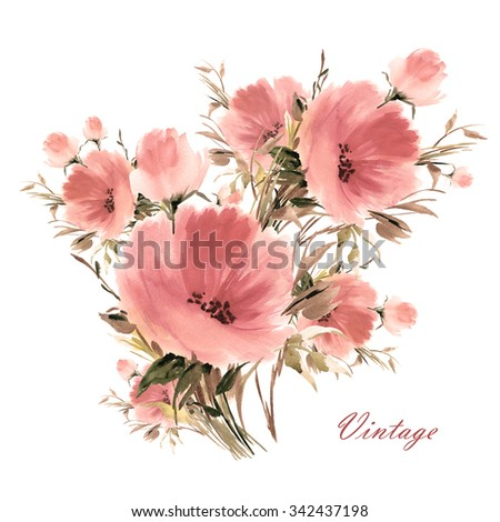 Watercolor illustration of a bouquet of beautiful flowers. A vivid illustration for your design and decoration. Vintage. - stock photo