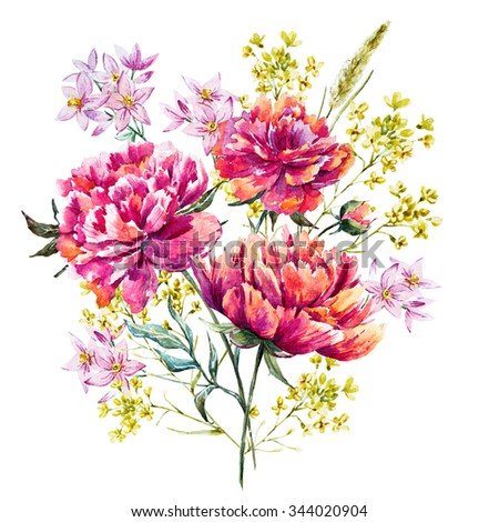 watercolor illustration of a bouquet of flowers, peonies, wildflowers - stock photo