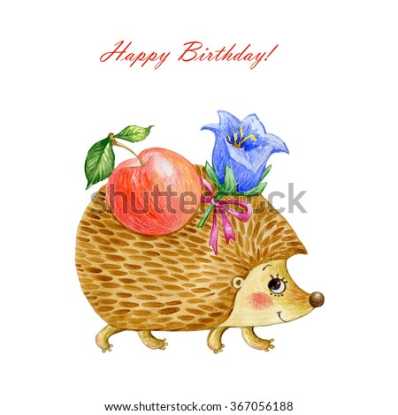 Watercolor illustration of a hedgehog with an apple and a flower . Sweet illustration for your design. Summer,  autumn. - stock photo