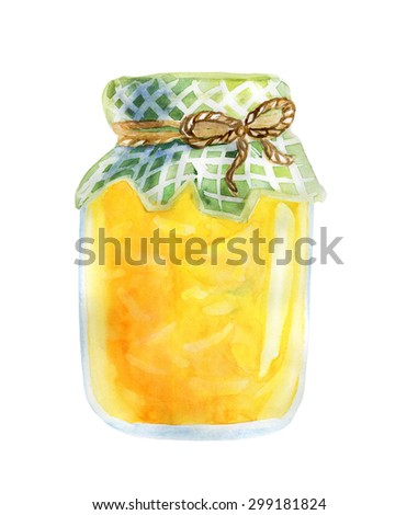 Watercolor illustration of a jar of home made lemon jam with checked fabric, decorative rope and a slice of fresh lemon. Hand drawn isolated food object on white background. Sweet tasty dessert