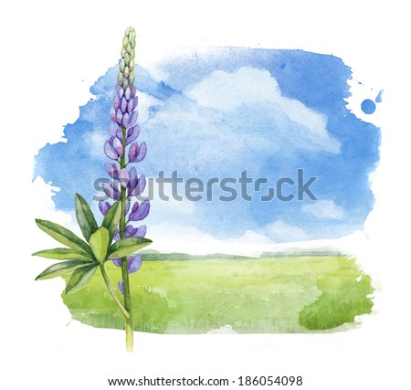 Watercolor illustration of a summer landscape  - stock photo