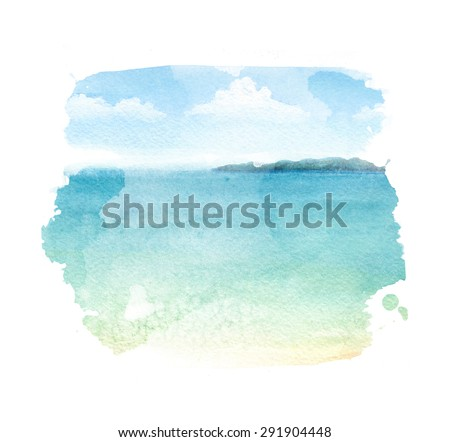 Watercolor illustration of a tropical beach - stock photo