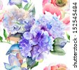 Watercolor illustration of Beautiful Hydrangea blue flowers, seamless pattern - stock