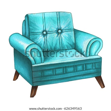 Watercolor illustration of blue  armchair. Modern designer chair isolated on white background.