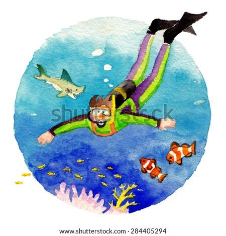 Watercolor illustration of boy scuba diving - stock photo