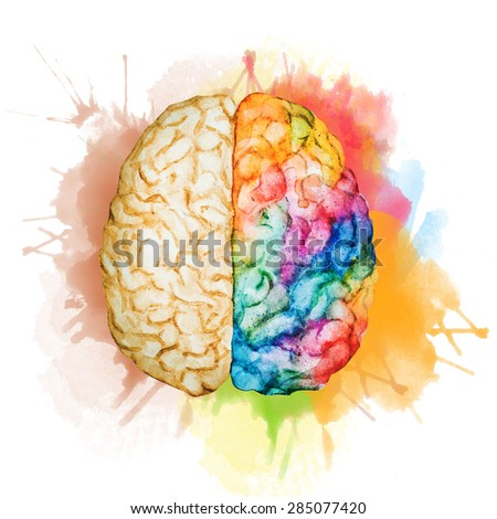 watercolor illustration of brain hemispheres of different colors, spray paint - stock photo