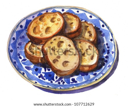 Watercolor illustration of bread
